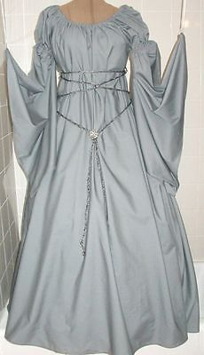 Renaissance Fantasy  Gray Chemise Puff Shoulder & Long Sleeve Costume Gown