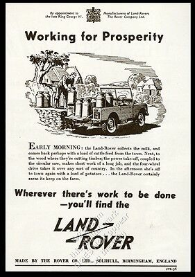 1952 Land Rover SUV dairy farm milk can art vintage print ad