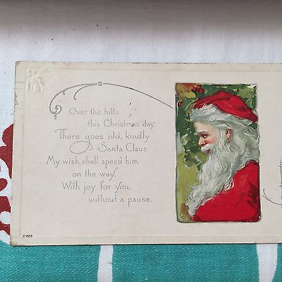 Vintage Christmas Postcard; Picture Of Santa; Over The Hills This Christmas Day