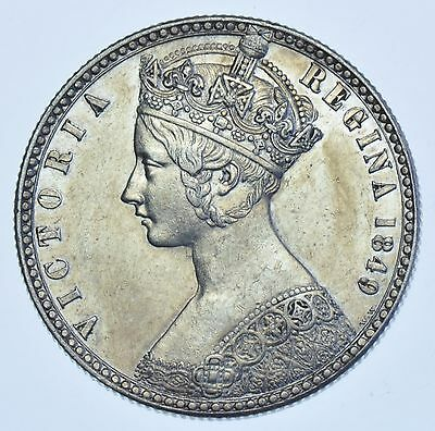 1849 `godless` Gothic Florin British Silver Coin From Victoria Ef