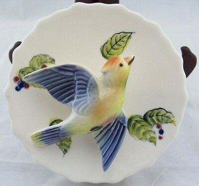 VERY PRETTY VINTAGE PORCELAIN BIRD WALL POCKET PLANTER BY WAXWING (marked)