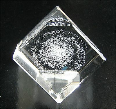 "SPIRAL GALAXY (Milky Way) 3-D Laser-etched cut-glass crystal 1"" Cube TAKARA 2004"