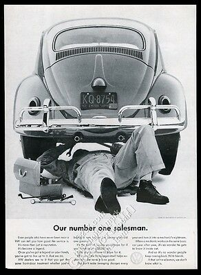 1961 VW Volkswagen Beetle classic car and mechanic photo vintage print ad