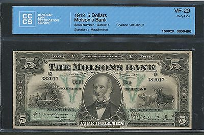 1912 The Molson's Bank $5. CCCS VF20. 490-32-02. Scarce banknote. Looks VF+/EF