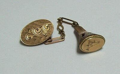 Vintage Gold Filled Initial A Watch Fob & Button