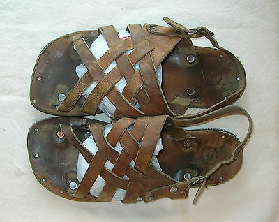 Vintage Leather Sandals With Tire Tread Soles - From Old Mexico!