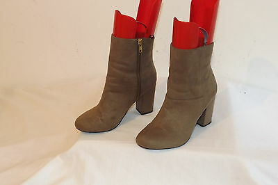 H&m ~ Ladies Light Brown Faux Suede Block Heel Casual Ankle Boots ~ Size 5