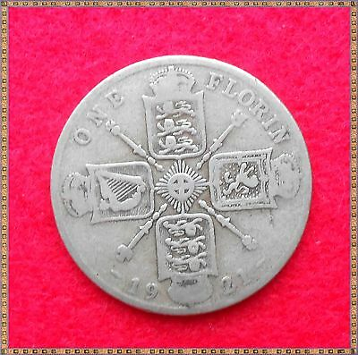 1921 George V Silver Florin/ Two Shillings (2/-) Coin.