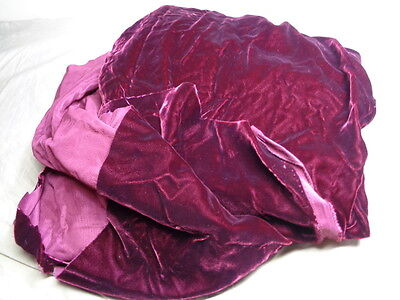 Vintage Velvet Deep Wine Red Fabric 39 x 81 Lg Piece
