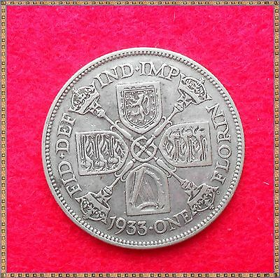 1933 George V Silver Florin/ Two Shillings (2/-) Coin.