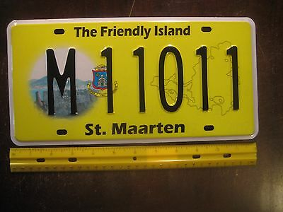 License Plate, St. Maarten, Dutch, Caribbean, 2012 Holograms, M Palindrome 11011