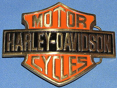 """LARGE 4"""" X 5"""" HARLEY-DAVIDSON BELT BUCKLE---SOLID BRASS w/ COLOR INLAY--NICE!!!!"""