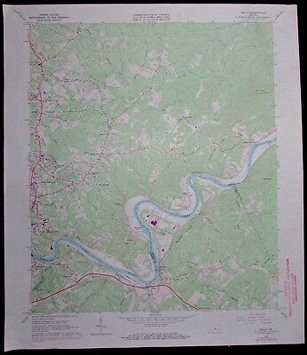 Kelly Virginia James River Madison Heights vintage 1971 old USGS Topo chart