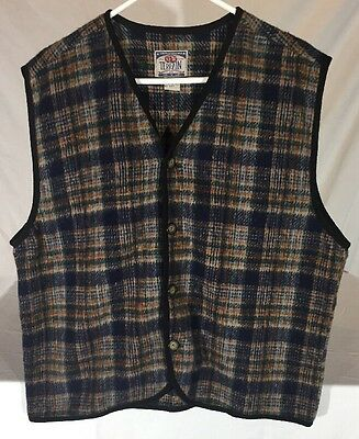 Vintage 90's New Terrain Wool Blend Plaid Flannel Button Front Vest Men's M