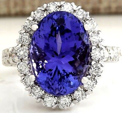10.04Ctw Natural Blue Tanzanite And Diamond Ring In 18K White Gold