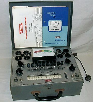 Vintage Eico Model 625 Tube Tester with Instruction Manuals in Working Condition