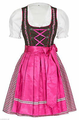 German,Trachten,Oktoberfest,Dirndl Dress,3-pc.Sz.12,Fuchsia/Pink.EMBROIDERED