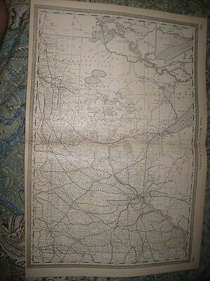 Large Antique 1888 Minnesota Railroad Stops Map Detailed Superb Nr