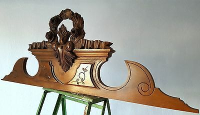 Bow Flower Pediment Antique French Carved Wood Salvaged Interior Decor Crest