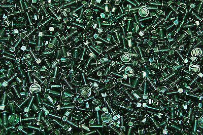 (1500) Slotted Hex Washer Head 8-32 x 3/8 Grounding Screws #8 Green Zinc Plated