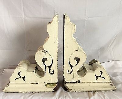1890's Antique Pair(2) Wood Corbels Brackets Victorian Gingerbread Chic White F2