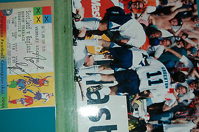 Euro 96 England V Scotland Ticket Signed Paul Gasgoingne With 10X8 Photo