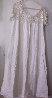 Antique White Victorian Nightgown Lawn Long Steampunk Lace Top Dress
