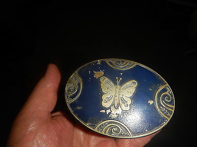 Lucretia Vanderbilt powder box with butterfly on lid and blue paint old