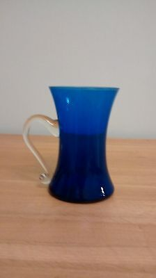 Large Blue Glass Tankard With Clear Glass Handle