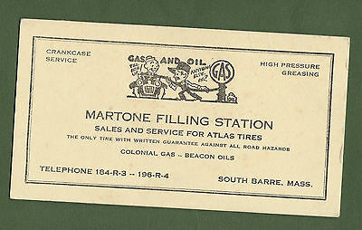 Blotter Martone Filling Station Gas Oil Atlas Tires Colonial Gas South Barre Ma