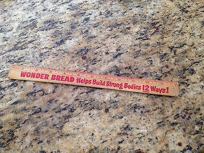 """Wonder Bread 12""""Ruler Build Strong Bodies 12 Ways Wood , red letters"""