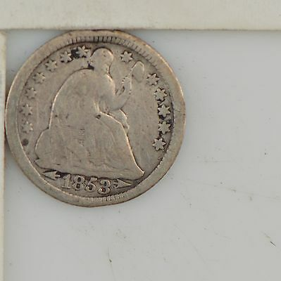 1853 Liberty Seated Half Dime, Arrows at Date *Z70