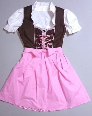 German,Trachten,May Festival,Oktoberfest,Dirndl Dress,3-pc.Sz.18,PINK,Brown,USA