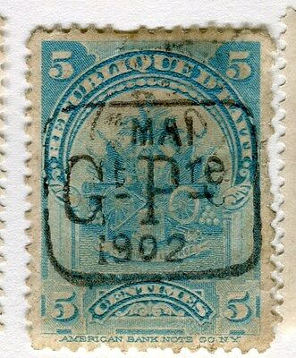 HAITI;   Early 1900s fine 1902 Prov. Govt. Optd. issue used 5c. value