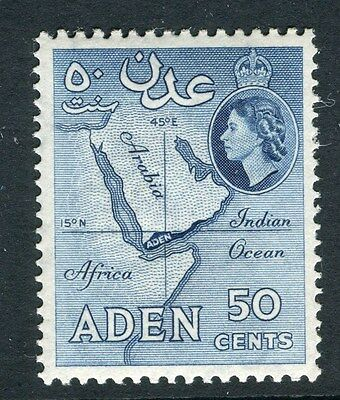 ADEN;  1953 early QEII issue fine Mint hinged 50c. value shade