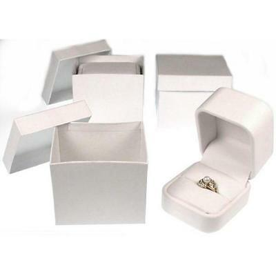 White Faux Leather Ring Display Jewelry Showcase Box