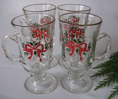 4 Libbey Christmas Holly Ribbon and Bow Irish Coffee Cup Glasses Arbys