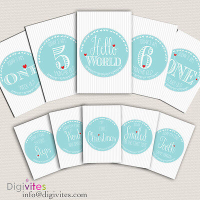 Baby Milestone Cards, Baby Moments and Milestones, Baby Shower, Tiffany Theme