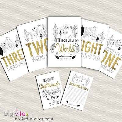 Baby Milestone Cards, Baby Moments and Milestones, Gold foil, Announcements