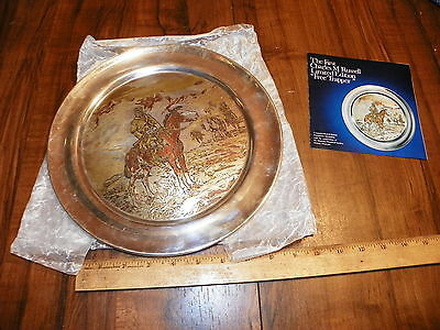 1972 REED & BARTON Damascene Silverplate Plate - Free Trapper By Charles Russell