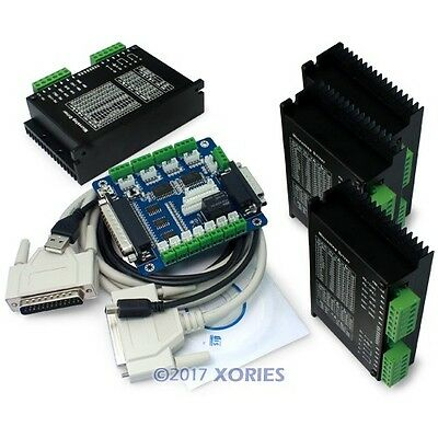 4 CNC M542H Stepper Driver Controller +5 Axis Breakout Board +Demo Mach3 + Cable