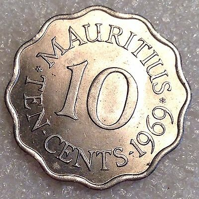 Mauritius 10 Cents 1969 Beautiful Coin! High Grade