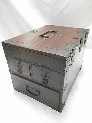 Antique Keyaki and Sugi Wood Calligraphy Box Japanese Drawers Circa 1890s #594