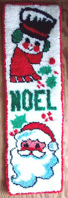 Christmas Snowman And Santa completed latch hook wallhanging vintage