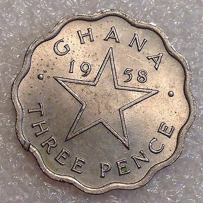 Ghana 3 Pence 1958 Great Coin with Great Details!