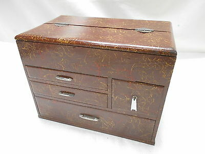 Vintage Sugi Wood Sewing Box Japanese Speckled Finish Drawers Circa 1950s #595