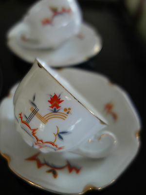 ART DECO 30s MEISSEN CUBIST GRAPHIC DEMITASSE COFFEE CUP/SAUCERS X 2