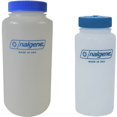 Nalgene HDPE Plastic Wide Mouth Storage Bottle - Clear/Blue