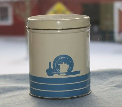 Vintage Blue & Cream Metal Tea / Coffee Kitchen Canister