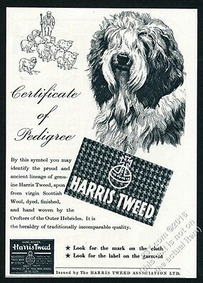 1950 Old English Sheepdog art Harris Tweed fashion fabrics vintage print ad
